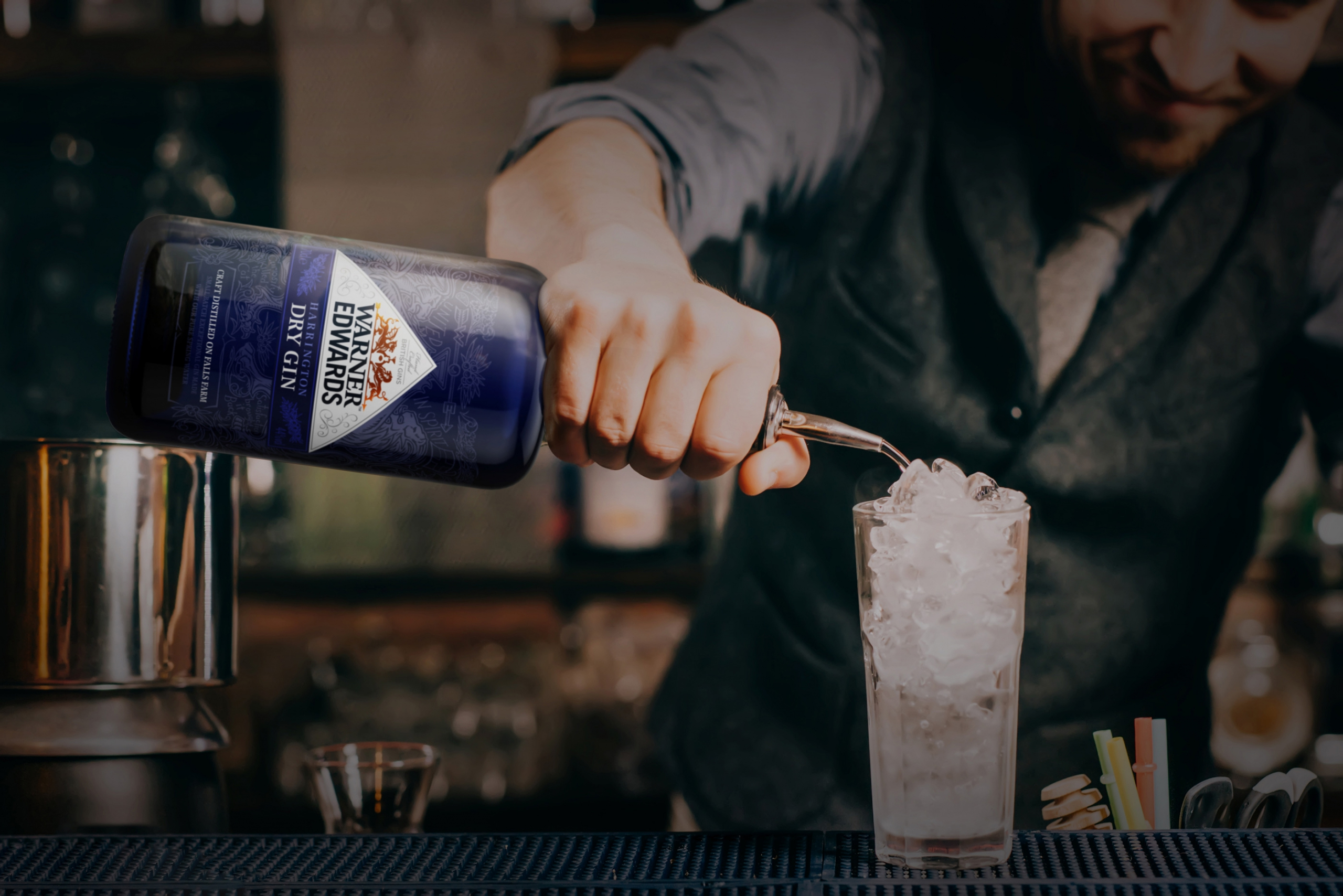 Lifestyle shot of gin brand design by Biles Hendry