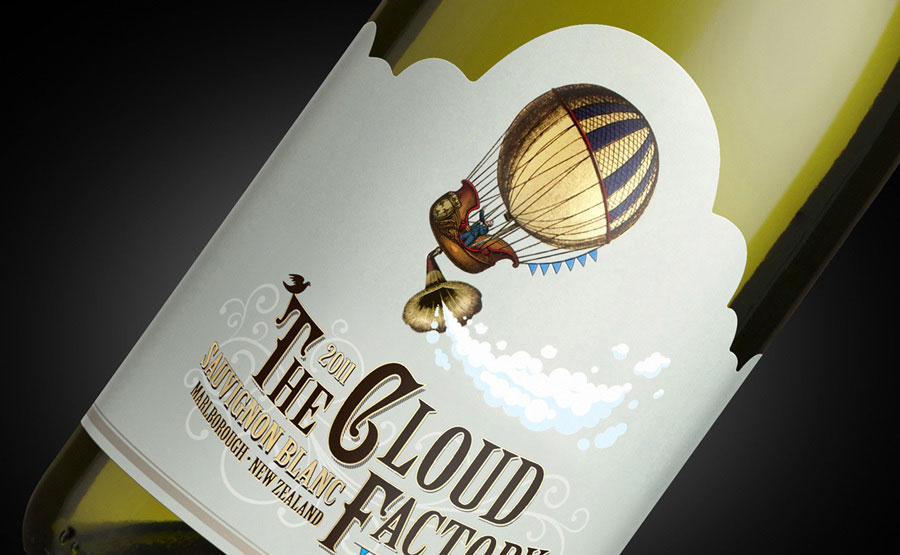 Cloud Factory wine close up of label
