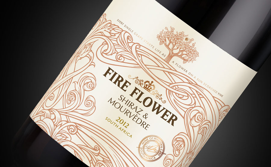 Fire Flower wine close up of label