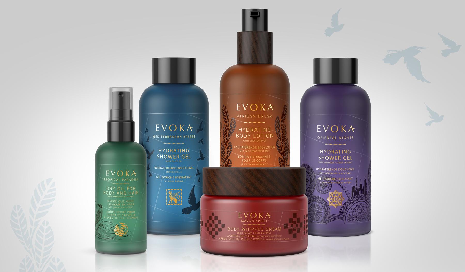 Evoka product range featuring branding by Biles Hendry