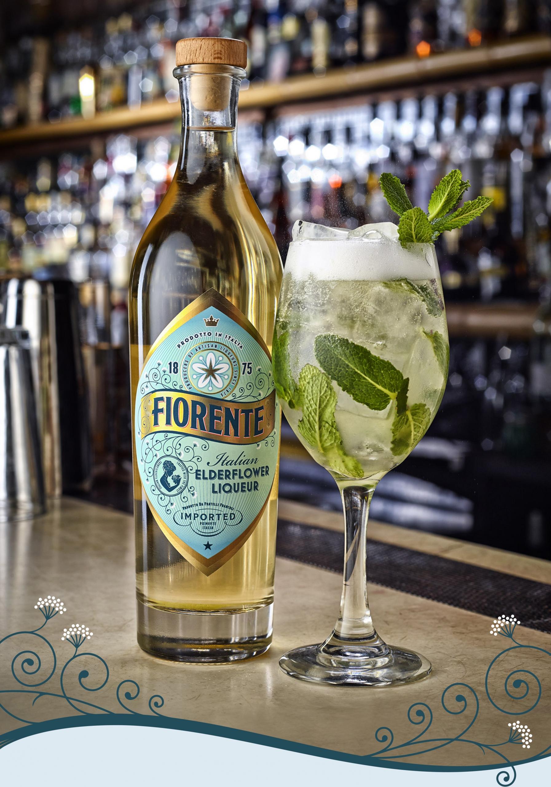 Lifestyle shot featuring bottle design for Fiorente