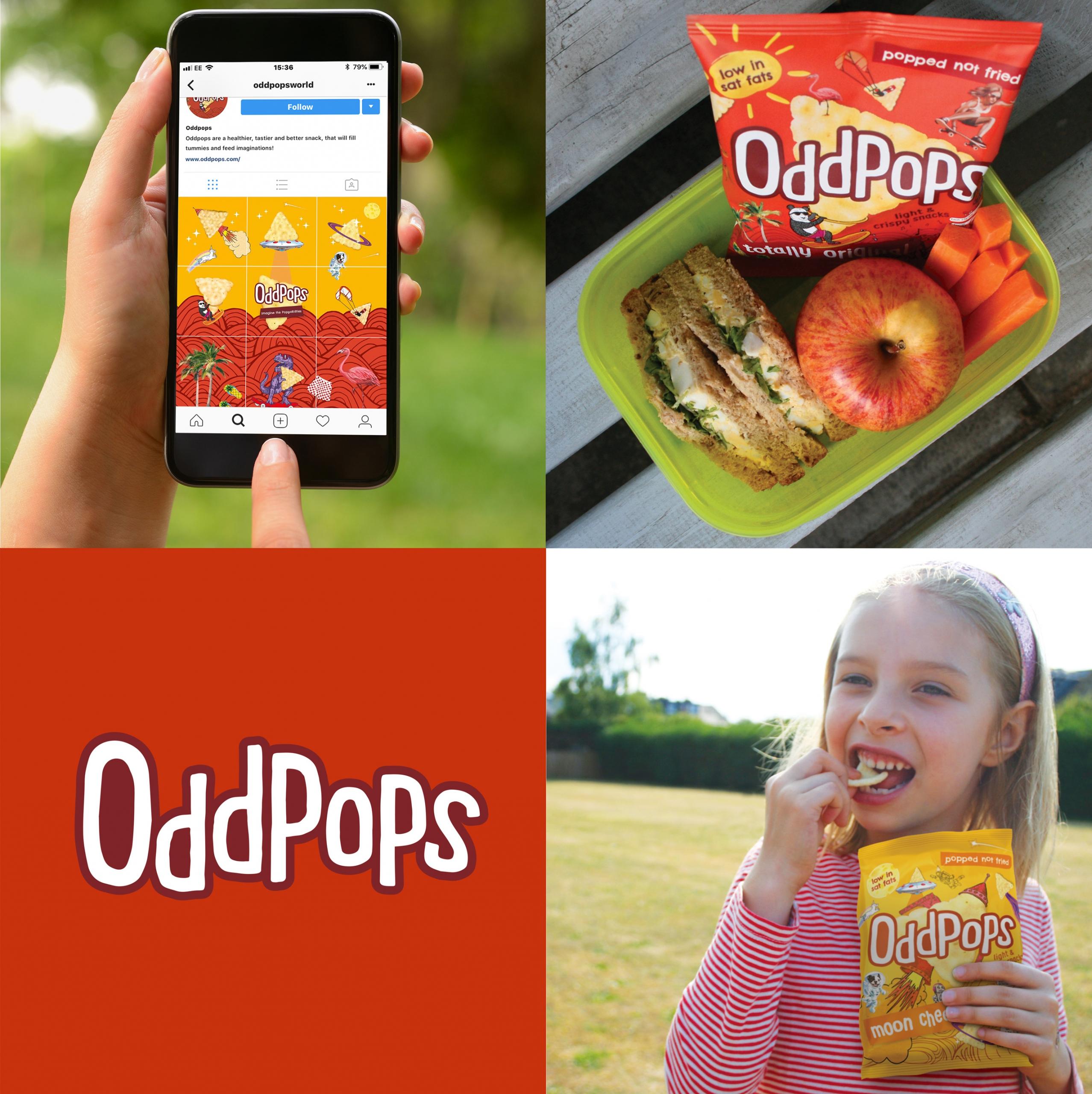 Lifestyle shots of Oddpops crisp branding