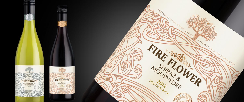 Fire Flower wine label design label by Biles Hendry