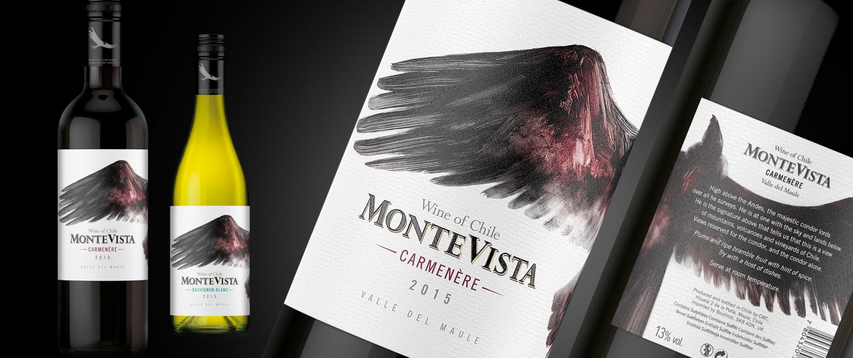 Monte Vista wine label design label by Biles Hendry