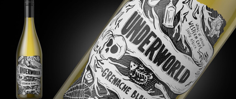Underworld wine label design label by Biles Hendry