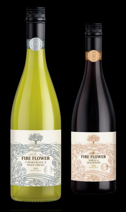 Fire Flower wine bottle label design by Biles Hendry